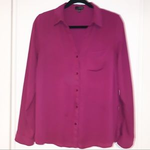 The Limited Plum Long Sleeve Work Blouse, Large